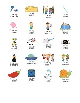 I Can Say.....   Speech Therapy Sticker Practice Book for S Blends