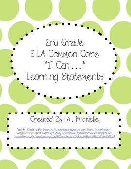 """I Can..."" Second Grade ELA Common Core"