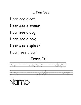 I Can See... Fluency Reading Activity