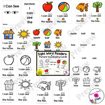 Sight Word Emergent Reader- Book & Vocabulary Cards:I Can See (I, can, see, the)
