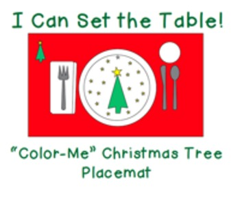 """I Can Set the Table: """"Color Me"""" Christmas Tree Placemat"""