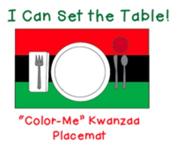 """I Can Set the Table: """"Color Me"""" Kwanzaa Placemat"""