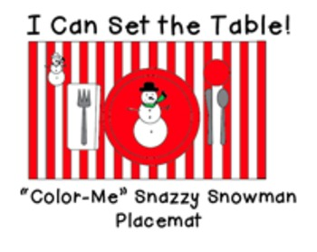 """I Can Set the Table: """"Color Me"""" Snazzy Snowman Placemat"""