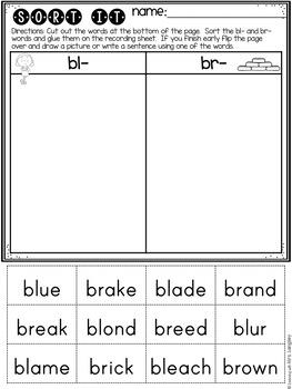 Initial Consonant Blend Sort