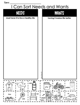 I Can Sort {NEEDS and WANTS} Picture Worksheet