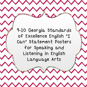 """""""I Can"""" Speaking and Listening Statements  from GSE for ELA"""