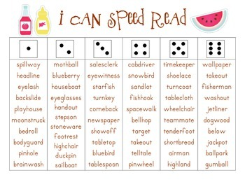 I Can Speed Read {Backyard Fun, Compound Word Edition}
