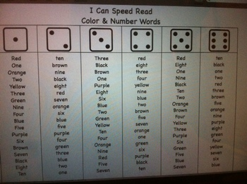 I Can Speed Read Color and Number Words