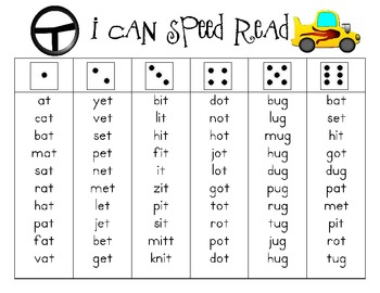I Can Speed Read {Short Vowel Word Families}