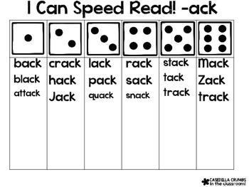 I Can Speed Read Word Family Words Rhyming  Reading Game