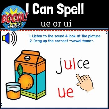 I Can Spell Long Vowel Teams ue or ui Words BOOM Cards
