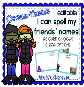 I Can Spell My Friends' Names- An Editable Ocean-themed Activity