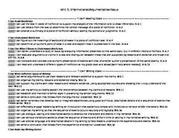 """""""I Can"""" Standards-Based Goal Sheets (Unit 1 only)--Editable"""