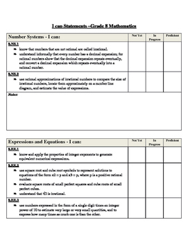 I Can Statement Assessment Log