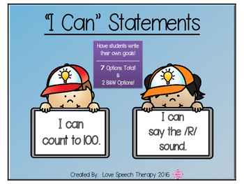 I Can Statement Cards for Student Goal Setting