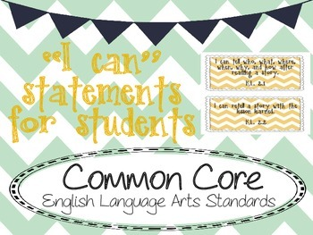 I Can Statement Cards YELLOW - Common Core  - Second Grade