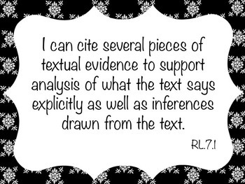 I Can Statement Cards - RI.7.1 and RL.7.1