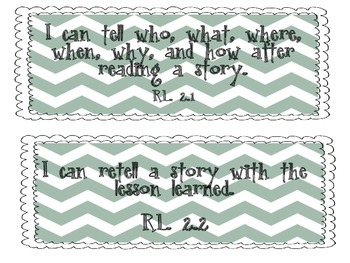 I Can Statement Cards TEAL - Common Core - Second Grade Language Arts