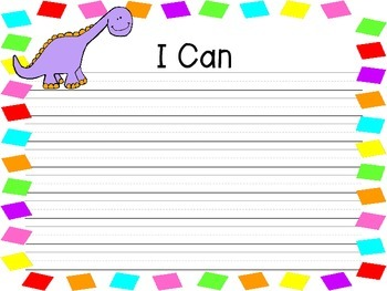 I Can Statement Dinosaur Theme Write and Wipe Posters