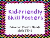 I Can Statement Posters - 4th Grade Math TEKS in Neon