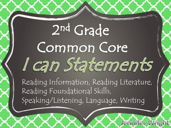 I Can Statement Posters Common Core 2nd Grade Quatrefoil Pattern FULL PAGE