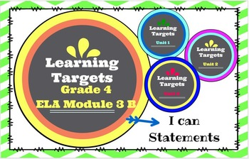 I Can Statement Posters!  Grade 4 ELA Module 3B All Units!