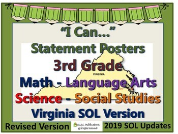 I Can...Statement Posters for 3rd Grade VA SOL's 2017 UPDATED VERSION