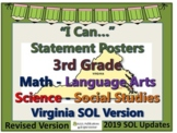 I Can...Statement Posters for 3rd Grade VA SOL's 2019 PDATED VERSION