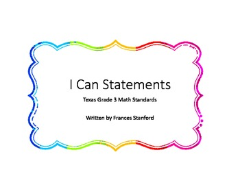 I Can Statement Posters for Grade 3 Texas Math Standards