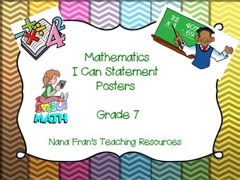 I Can Statement Posters for Grade 7 Math