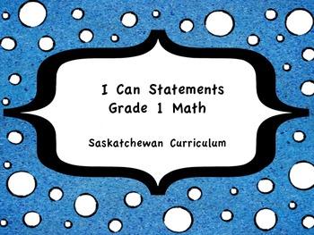 I Can Statement Posters for Saskatchewan Grade 1 Math
