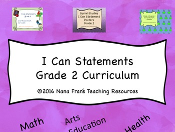 I Can Statement Posters for Saskatchewan Grade 2 curriculum
