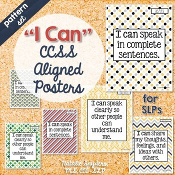 """I Can"" Statement Posters for Speech Language Therapy - Patterns"