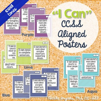 I Can Statement Posters for Speech Language Therapy Aligned to CCSS (Cool Tones)