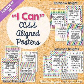 I Can Statement Posters for Speech Language Therapy Aligned to CCSS (Rainbow)