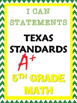 I Can Statements (100% updated TEKS)