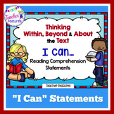 """Before During After Reading Strategies """"I Can Statements"""" Learning Target Signs"""