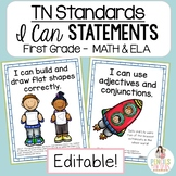 TN Standards I Can Statements ELA & MATH for First Grade