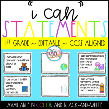 I Can Statements 1st Grade Editable