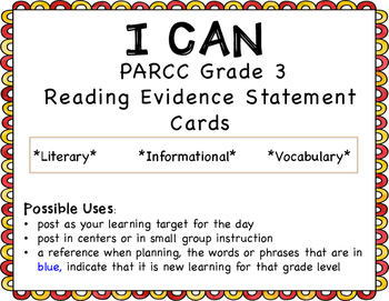I Can Statements for 3rd grade