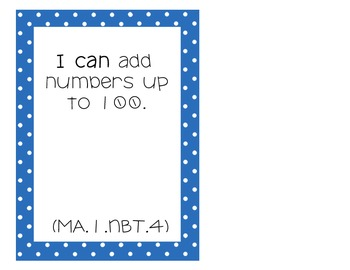 """I Can"" Statements- 1st Grade Math CCSS"