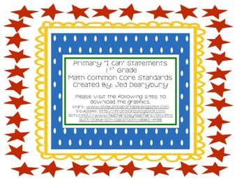 """I Can"" Statements- 1st Grade Math CCSS"