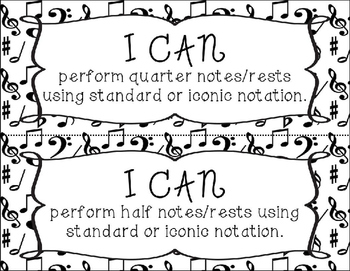 I Can Statements - 2nd Grade - Music Note