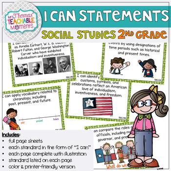 I Can Statements 2nd Grade TEKS Social Studies