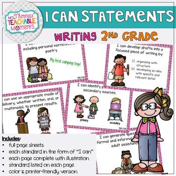 I Can Statements 2nd Grade TEKS Writing