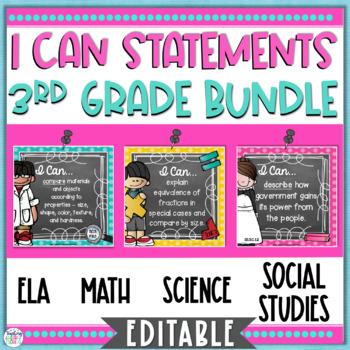 I Can Statements 3rd Grade Bundle {Editable} - Florida Standards
