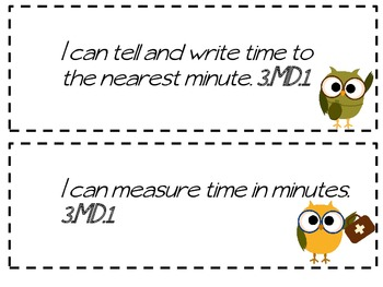 I Can Statements - 3rd Grade Common Core -Camping Owls