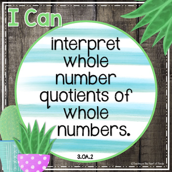 I Can Statements 3rd Grade MATH {Editable} - Gray Shiplap & Cactus