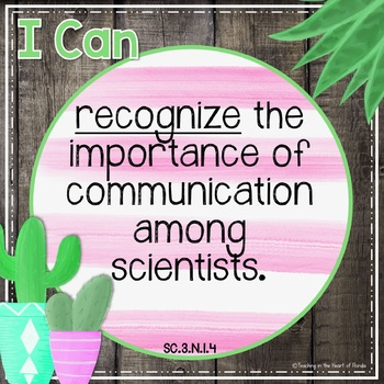 I Can Statements 3rd Grade SCIENCE - FLA {Editable} - Gray Shiplap/Cactus