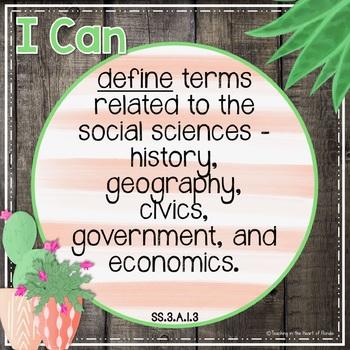 I Can Statements 3rd Grade SOCIAL STUDIES - FLA {Editable} - Gray Shiplap/Cactus